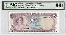 Bahamas 1968 P-26a PMG Gem UNC 66 EPQ 1/2 Dollar