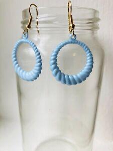 80's Original Baby Blue Circle Twist Detail Unused Deadstock Earrings 2.7x3.0 cm