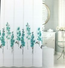 Tahari Watercolor Hollyhocks Fabric Shower Curtain Teal Gray Blue White Floral