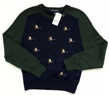 Brooks Brothers Boys Cotton Duck Embroidery Sweater Color Navy Size S