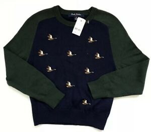 Brooks Brothers Boys Cotton Duck Embroidery Sweater Color Navy Size M