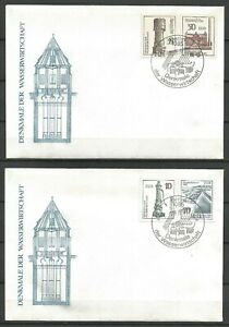 Germany East DDR GDR 1986 FDC (2) Water Supply Pumps Water Tower