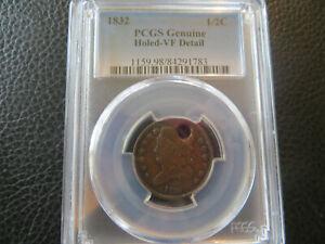 1832  Half Cent PCGS Genuine Holed VF Details 1/2 Cent