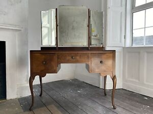 Burr Walnut Dressing Table with Original Handles and Brass Fittings Art Deco