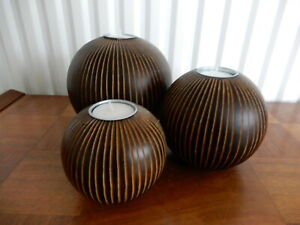 Set of 3 Tea T Light Candle Holders Round Ceramic Wood Effect With Candles Used