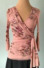 SWEET PEA Floral Rose Mesh / Net Top Blouse Sheer 3/4 Sleeve Wrap Look