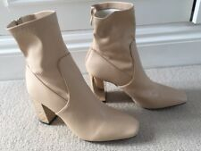 Neutral coloured High Heeled Boots with Gold Heel. Size 6
