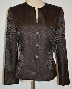 New Le Suit Blazer Jewel Button Long Sleeve Jacket Brown Shimmer Animal Print 10