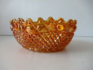 "Vintage Marigold Carnival Glass Sawtoothed Ruffled Edge Bowl Orange Color Old""F1"