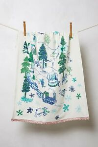 Anthropologie Tree-Embroidered Dish Towel Hand Embroidered NWOT