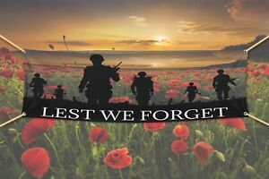 least we forget PVC banner 4ft x 2ft rememberence