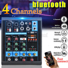 Mischpult 4-Kanal bluetooth USB Mini Audio Mixer Record DJ Konsole Verstärker ❀