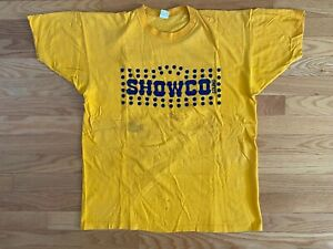 VTG RARE SHOWCO The Who 1975 Cast Crew Promo Band Tour Shirt! Yellow! Blue! XL!