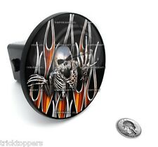 "Skull & Flames - 2"" Tow Hitch Receiver Cover Insert Plug for Most Truck & SUV"