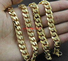 Fashion Gold Stainless Steel Men Solid Cuban Link Chain Curb Necklace 8mm 24''