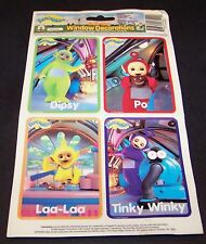 Vintage Teletubbies Static Cling Window Decorations 1999 Set of 4 Stick-ons