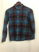 Madewell Women's XS Cotton Flannel Plaid Blue Red Button Down Front Shirt Top