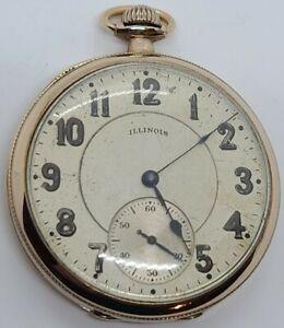 Antique Working 1918 ILLINOIS 'Elite' 19J Gents Silver Art Deco Pocket Watch 12s