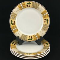 "Set of 4 Dinner Plates 10"" by Daily Dining Cherry Royale Stoneware Yellow"