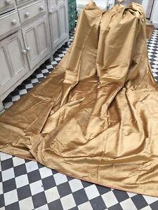 """Exquiisite GOLD Silk Velvet Curtains 55""""W x 88"""" L, 140 x 225cm"""