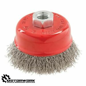 ANGLE GRINDER CRIMPED STAINLESS STEEL WIRE CUP BRUSH CLEANING