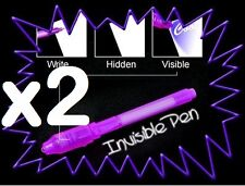 Secret Message Writing Set - 2x Invisible Ink Secret Spy Pens + inbuily UV Light