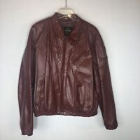 Vintage Men's Rossano Collection Brown Leather Motorcycle Biker Jacket Size 46