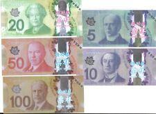 LOT SET SERIE 5 Billets CANADA DOLLAR ECHANTILLON TEST NOTE CHINOIS SANS VALEUR