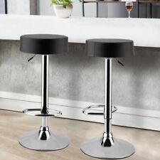 Bar Stools Kitchen Breakfast Swivel Stool 2pcs Round Chair Faux Leather Black