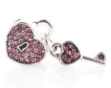 1pcs silver love key pink CZ spacer beads fit Charm European Bracelet DIY #B949