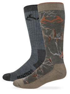 Realtree Mens Camouflage Outdoor Merino Wool Cushion Boot Mid Calf Socks 2 Pair