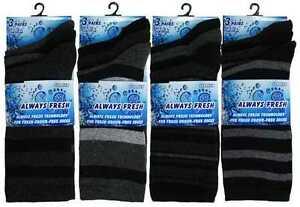 Mens Grey Rugby Stripe Cotton Rich Dress Everyday Socks Always Fresh 3pp UK 6-11