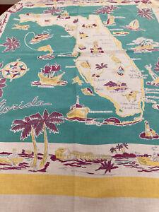 FUN TRUE VINTAGE SOUVENIR PRINT TABLECLOTH-FLORIDA-GREAT GRAPHICS! 46 X 50