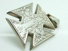 Antique Victorian Silver Engraved Maltese Cross Pendant/Charm