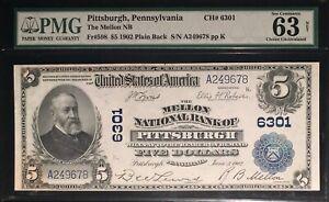 1902 Pittsburgh, PA $5 Large Nat'l CH # 6301== CU-63=Plain Back==FREE SHIPPING!