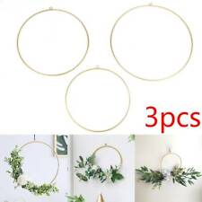 3x Gold Floral Hanging Hoops Garland Wreath Wedding Party Decoration Brand new
