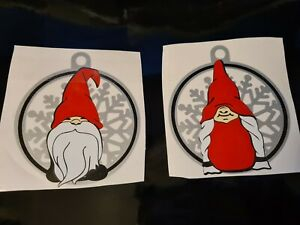 Christmas gnomes snowflake lady or man  vinyl decal sticker Sparkle bauble