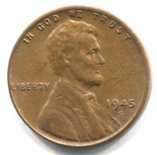U.S. 1945 S Lincoln Wheat Penny - Shell Casing 1 Cent Coin - San Francisco Mint