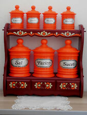 Rare Vintage FRENCH CANISTERS STAND signed EMSA W.GERMANY -  RETRO Mid-century