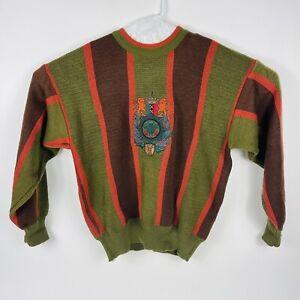 Vintage Jackie Vital Mens Medium Crest Lion Sweater Orange Brown Retro 80s Logo