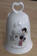 Precious Moments 1985 Porcelain Bell, Heart Handle Come Let Us Adore Him - Vgc