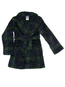 St. Eves Boys Navy Green Plaid Blackwatch Plush Fleece Bathrobe