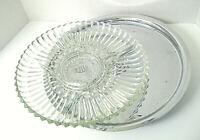 "Vtg Kromex 13.25"" Lazy Susan w/ Glass Relish Plate Dish 2 Pc"