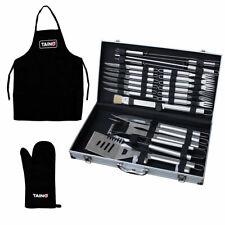 Grillset Besteck Koffer 24tlg. Edelstahl Schürze Handschuh Grill BBQ Zubehör Set