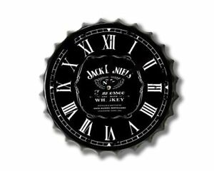 New retro vintage metal bottle top wall clock 30cm Jack daniels