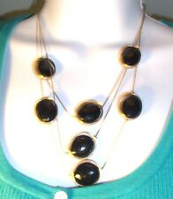 """CHICO'S signed necklace 16"""" tri strand gold tone framed black beads NWT"""