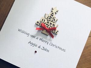 Personalised Handmade Christmas Cards - Wooden Christmas Tree 13.5cm X 13.5cm