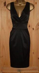 Black satin pencil wiggle galaxy pleated smart evening cocktail dress size 10