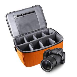 DSLR Camera Partition Folding Flexible Padded Camera Lens Insert Bag Case Orange