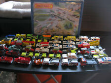 matchbox lot Emergency Vehicles in a 1983 48 car carry case Fire ,Police, Towetc